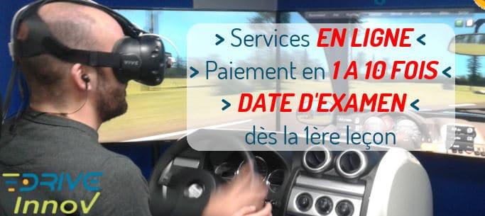 Auto Ecole Drive Innov - simulateur de conduite - services en ligne - paiement en 1 à 10 fois -date d'examen dès la 1ère leçon