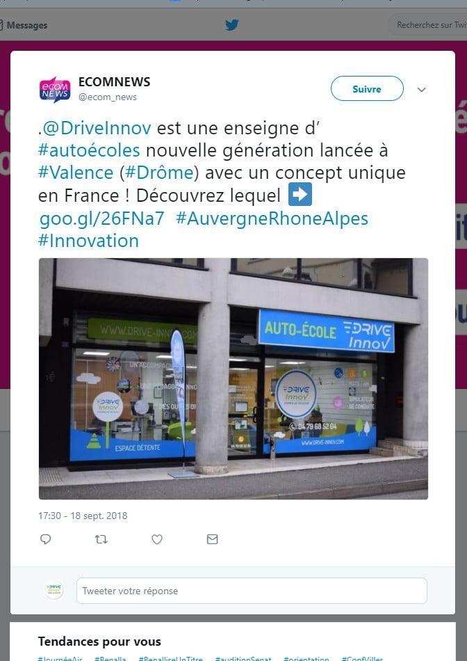 Tweet d'Econnews sur l' auto ecole drive innov