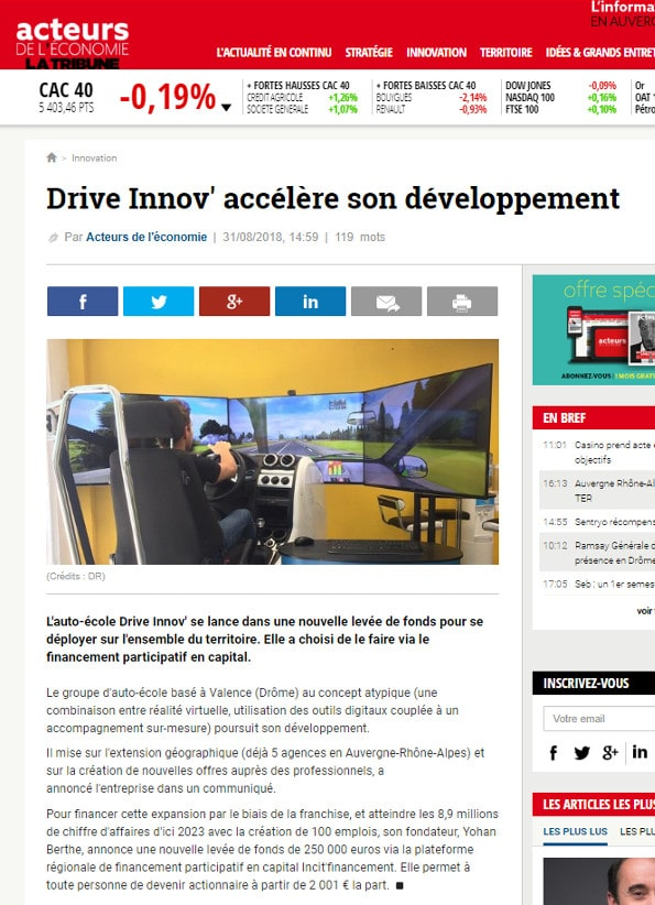Article paru dans la tribune 31082018 Drive Innov