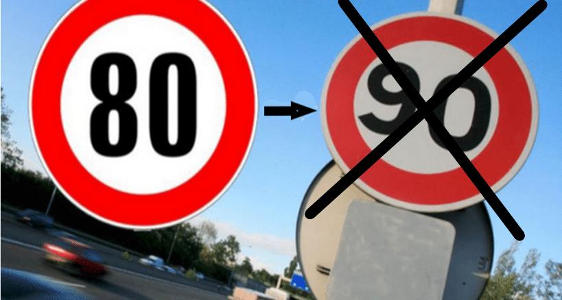 Le passage de la limitation de vitesse de 90 à 80 km/h